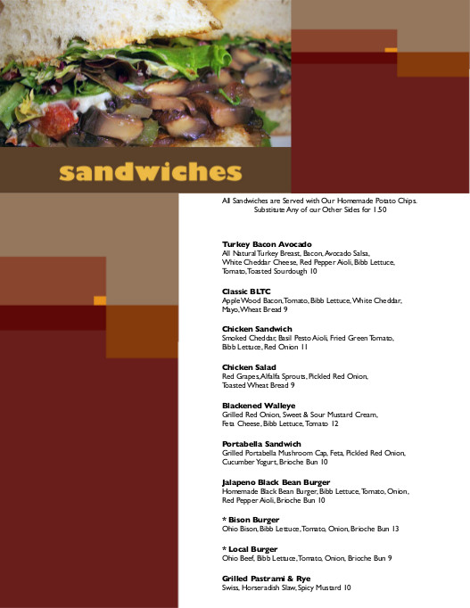 Local Roots Menu - Sandwiches